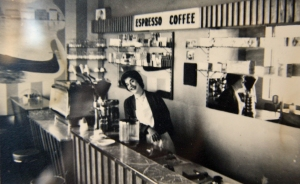 Interior of Espresso Bar, corner of Canning Street and Princes Street, Carlton, c. 1955.